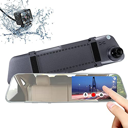 Rear View Mirror Camera Mirror Dash Cam ANCARLEELA 5 Inch 2.5D Glass Touch Screen Dash Camera(2nd Gen) Front and Mirror Camera 1080P HD 170°Wide Angle Video Recorder