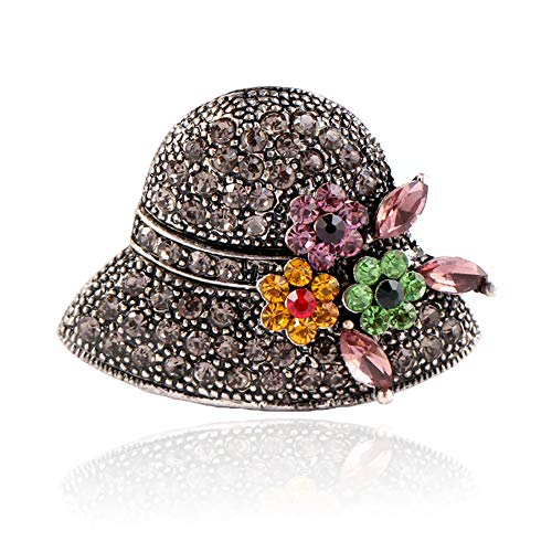 Youkara Ladies Brooches Cute Hat Shape Brooch Pins Scarves Shawl Clip Brooches Jewelry Gift for Women Vintage SIlver