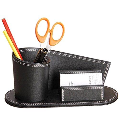 Pot cuadrado de lápices oficina piel sintética multifuncional caja/cesta de almacenaje cosmética maquillaje almacenamiento tarjetas de visita puerta bolígrafo clásico práctica mesa para casa