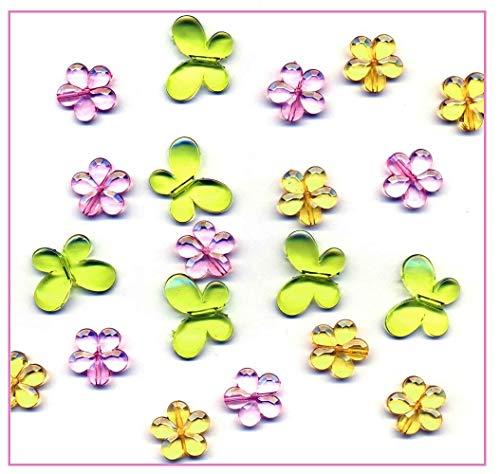 Libetui Streudeko Schmetterling Blumen Blümchen Konfetti Acryl glasklar für Feier Hochzeit Geburtstag ca. 100 Stück