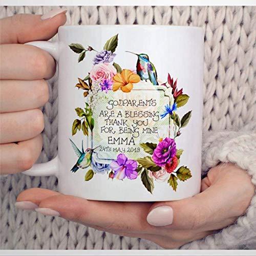 N\A Taza de Agradecimiento de Padrinos, Taza de café con colibríes, Regalo Personalizado para Madrina, Novedad, Taza de té de cerámica, Regalo de cumpleaños de Navidad para Hombres y Mujeres