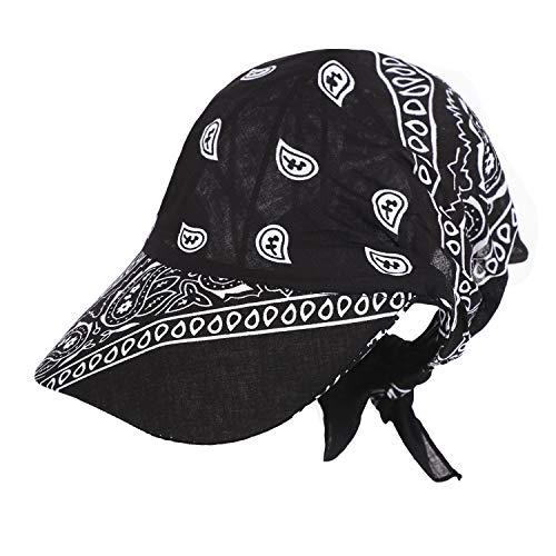 RUIXIB Damen Kopftuch Schal Cap Mützen für Haarausfall mit Schirm Bandana Cap Sommer Faltender Retro Stil Sonne-Hut Visier Kappe Anti-UV für Golf Tennis Baseball Hut