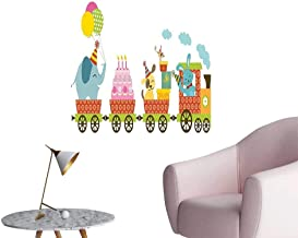 Vinyl Wall Stickers for Kids Happy Cartoon Cake Animals Balloons in a Party Train Image Multicolor Perfectly Decorated,16