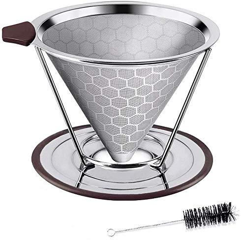HOUSON Permanenter Kaffeefilter Wiederverwendbare Handfilter Edelstahl Kaffee Filter Metall Kaffee Mesh mit Cup Cleaner Pinsel und Getrennte Stehen für 4 Tassen