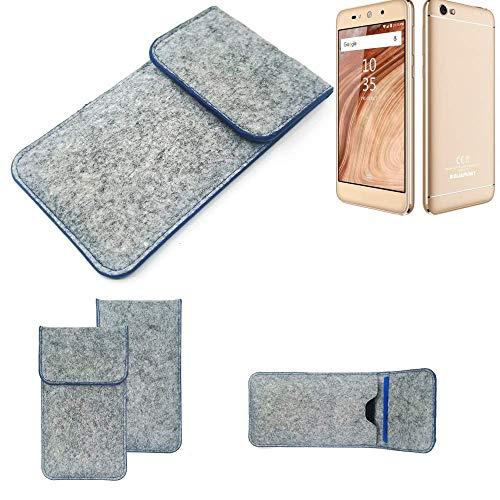 K-S-Trade Handy Schutz Hülle Für Blaupunkt SL02 Schutzhülle Handyhülle Filztasche Pouch Tasche Hülle Sleeve Filzhülle Hellgrau, Blauer Rand