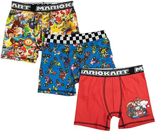 Super Mario Mario Kart (3 Pack) Boxer Briefs for Boys (Small (Size 6))
