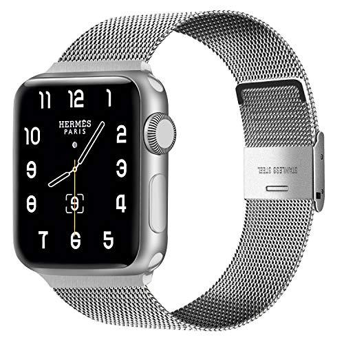 Alfheim Cinturino di Ricambio Compatibile con Apple Watch SE 44mm / 42mm / 40mm / 38mm, Cinturino Regolabile Impermeabile in Acciaio Inossidabile per iWatch Serie 6/5/4/3/2/1 per Uomo Donna