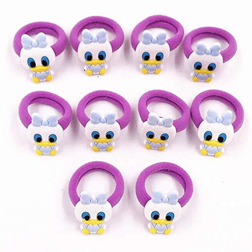 HUANGRONG 10PCS Nylon Mickey Minnie Daisy élastique Cheveux Élastique Enfants Serre-tête Enfants Accessoires Cheveux Fille Bande Cheveux Cartoon Gum Cheveux (Color : Champagne)