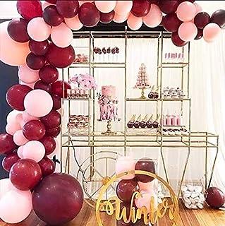 Pearl Burgundy Balloons Pink Balloons Garland Kit 109 Wine Red Latex Balloons Decorating kit : 16ft Balloon Strip Tape 100...