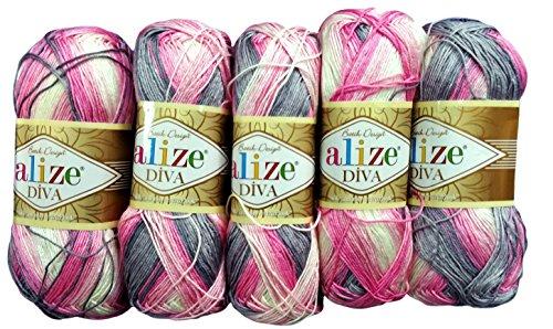 5 x 100 Gramm Alize Batik Wolle mehrfarbig mit Farbverlauf, 500 Gramm merzerisierte Strickwolle Microfiber-Acryl (rosa grau weiß 3245)