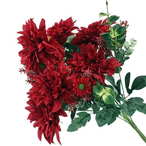 hartslagtijd Grote Dahlia Boeket Zijde Kunstbloemen Bloemetjes voor Bruiloft Decoratie Mariage Babyshower Wit Nep Bloem,A OneSize A