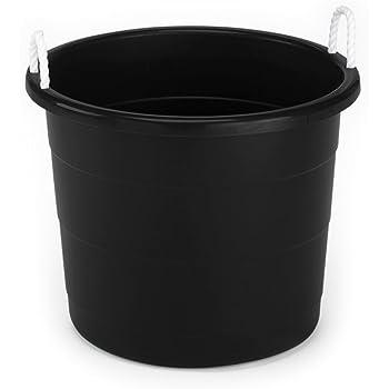 HOMZ Plastic Utlity Rope Handle Tub, 17 Gallon (Standard), Black, 2 Count
