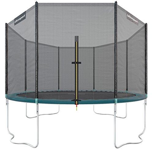 Ultrasport Outdoor Gartentrampolin Jumper, Trampolin Komplettset inklusive Sprungmatte, Sicherheitsnetz, gepolsterten Netzpfosten und Randabdeckung, bis zu 150 kg, grün, Ø 366 cm