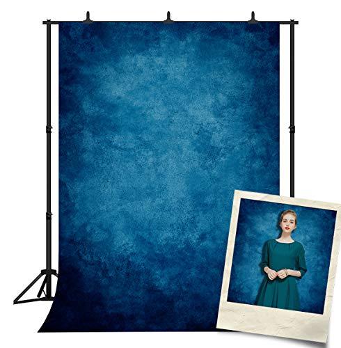 DePhoto Abstract Blue Portrait Solid Color Backdrop Photography Graduation Baby Shower Party Banner Decoration Vinyl Photo Background Studio Prop PGT030A 5x7ft
