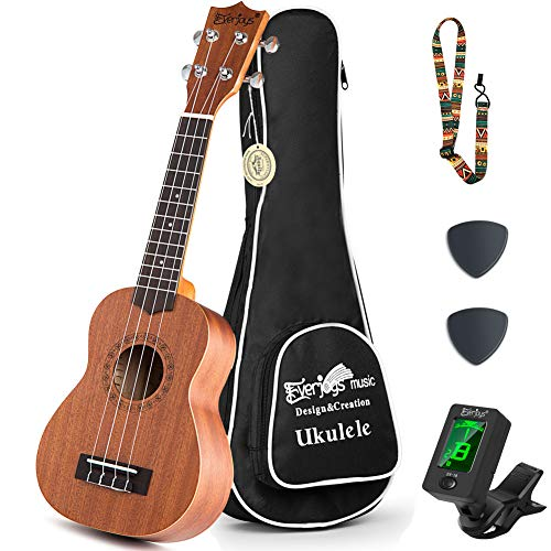 Mahogany Soprano Ukulele Starter Kit - Professional 21 inch w/Case Strap Digital Tuner Aquila Strings