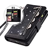 Galaxy S9 Bling Wallet Case for Women,Auker Trifold 9 Card Holder Folio Flip Glitter Sparkly Protective Leather Fold Stand Magnetic Wallet Case with Strap&Money Pocket for Samsung Galaxy S9 (Black)