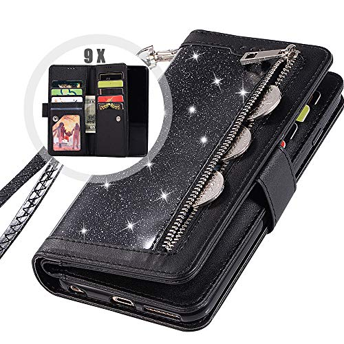 Auker Galaxy S9 Bling Wallet Case for Women, Trifold 9 Card Holder Folio Flip Glitter Sparkly Protective Leather Fold Stand Magnetic Wallet Case with Strap&Money Pocket for Samsung Galaxy S9 (Black)