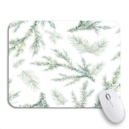 Gaming mouse pad grün aquarell weihnachtsbaum zweige tanne nadel natürliche winter rutschfeste gummi backing computer mousepad für notebooks maus matten