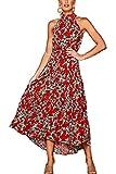 Mujeres Verano Bohemio Vestido Halter Sin Mangas Skater Floral Maxi Vestidos Rojo L