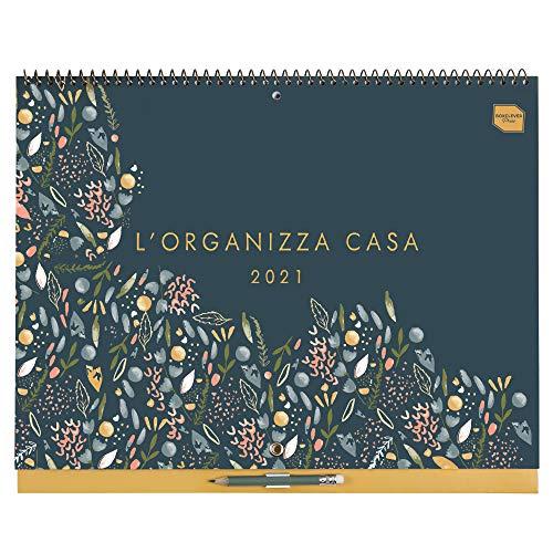 L'Organizza Casa Boxclever Press Calendario 2021 da muro. Calendario famiglia 2021 con ampio spazio e etichette dei mesi. Calendario 2021 da parete inizia ora e dura fino a Dicembre 2021.