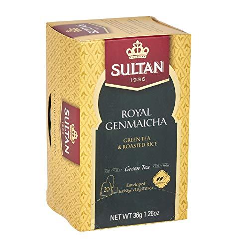 SULTAN TEA Royal Genmaicha, Grüner Tee mit geröstetem Reis Marokkanische Kräutertees (Packung mit 4 - 80 Teebeuteln)