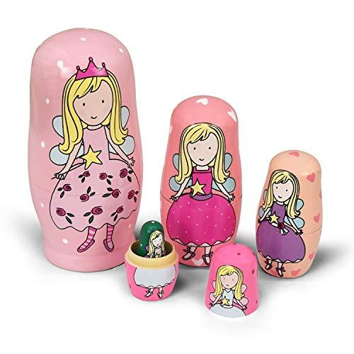 Russische Matroschka für Kinder 5 Stück - Tiere Hunde Matroschka Holz Spielzeug ab 3 Jahre Geschenk (Engel)