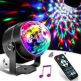 SunTop Bola Discoteca LED Luces Discoteca, 3W LED Giratoria Luz de Fiesta con Sonido Activado y Control Remoto, 7 Colores RGB Lámparas de Disco para Cumpleaños, Discoteca