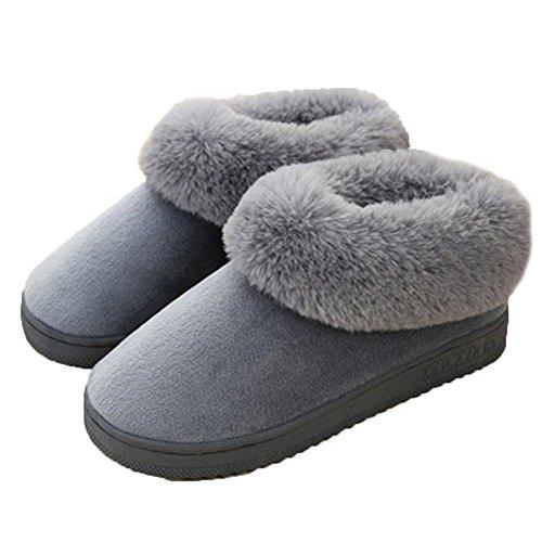Minetom Damen Winter Baumwolle Pantoffeln Dickere Wärme Plüsch Kuschelige Hasenohren Home Hausschuhe Anti Rutsch Slippers A Herren Grau EU 41 42