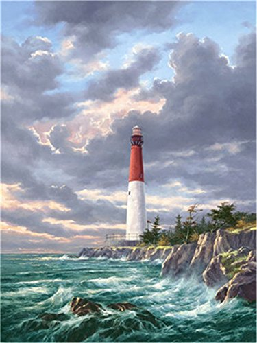 DIY Oil Paint by Number Kit for Adults Beginner 16x20 inch - Seaside Lighthouse Storm, Drawing with Brushes Christmas Decor Decorations Gifts (Frame)