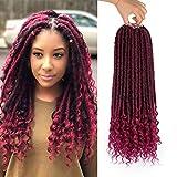 Jenniferita Goddess Faux Locs Red Crochet Hair 20 Inch Hair Extension Crochet Hair for Black Women (6 Packs,1B/BUG)
