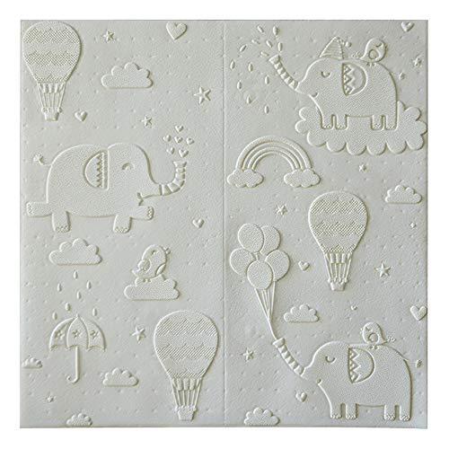 H&RB PE-Schaum-Wand-Paneele, Nette Karikatur-Self-Adhesive Wandaufkleber Für Schlafzimmer Baby-Raum Kinderzimmer Wohnzimmer 70 X 70Cm,Weiß,1PCS
