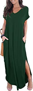 Women's Casual Loose Pocket Long Dress Short Sleeve Split...