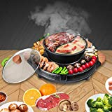 Funwill Electric Grill Hot Pot, 2 IN 1 Separable Indoor Electric Smokeless Grill, 3.5L Large Capacity Multifunctional Non-Stick Portable Electric Barbecue Stove for 2-10 people Gatherings, 2200W