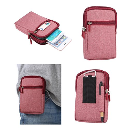 DFVmobile - Universal Multi-Functional Vertical Stripes Pouch Bag Case Zipper Closing Carabiner for Kata Idroid - Red (17 x 10.5 cm)
