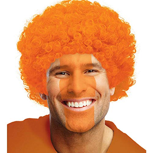Perruque Afro Frisée Sports Spirit Team Colour - Orange