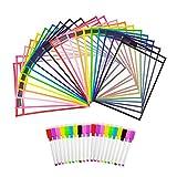 Hangnuo 20 trocken abwischbare Taschen, verschiedene Farben, 25 x 33 cm, wiederverwendbar, für...