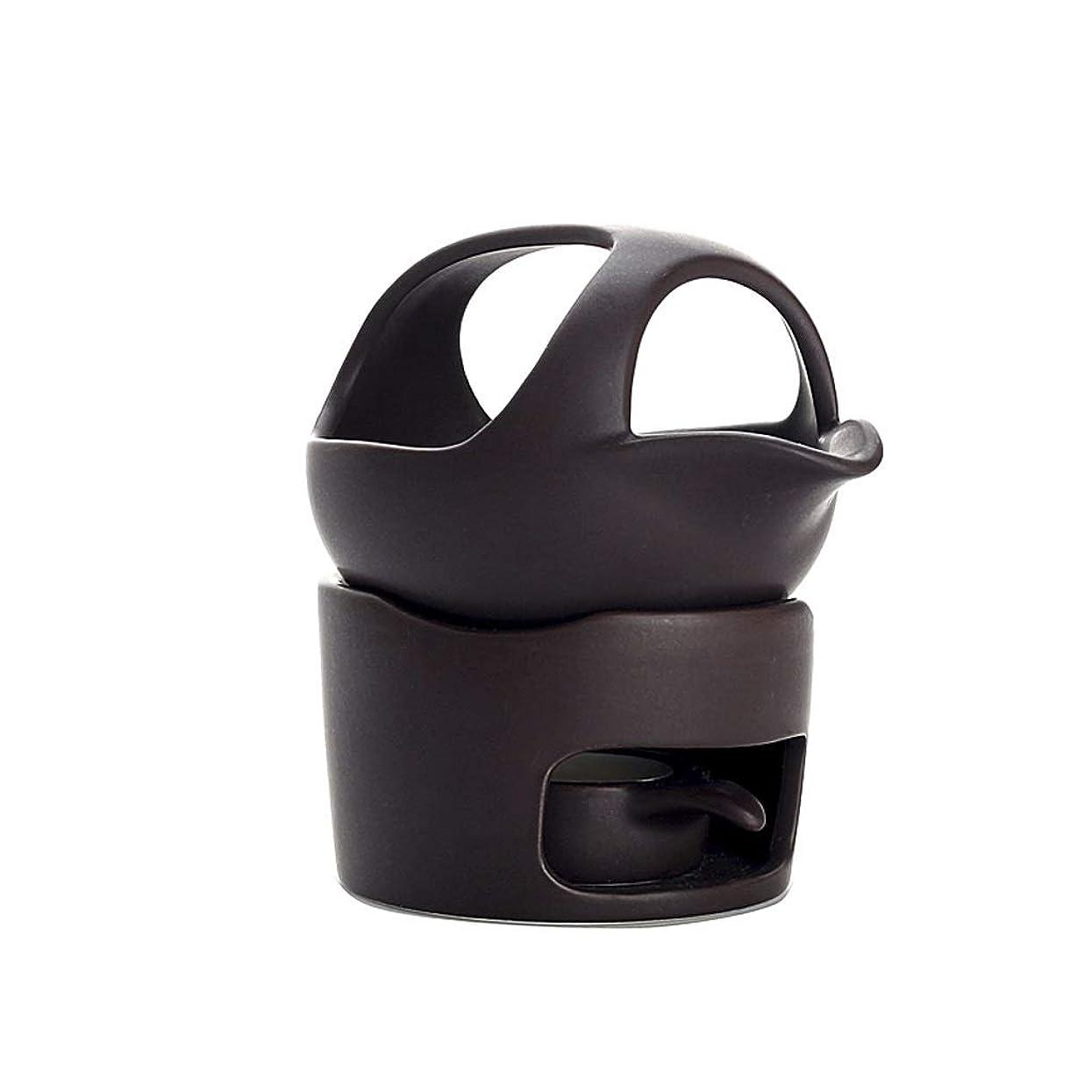 問題道液体ホームアロマバーナー セラミックお香バーナースモークティーストーブウェイクアップお茶お香バーナー陶器お茶セットアクセサリーお香ホルダー アロマバーナー (Color : Black, サイズ : 12.5cm)