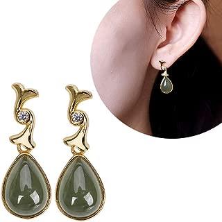 J.Memi's Waterdrop Drop Earrings 925 Sterling Silver Tulip Flower Natural Jade Pendant Chandelier Statement Dangle Original Love Jewelry Accessories