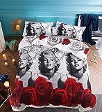 Hohai - Set copripiumino 3D, motivo Marilyn Monroe, 3 pezzi, con 2 federe e 1 copripiumino, Cotone, Multicolore, King