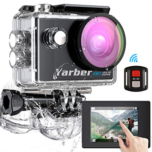 Yarber Action Cam, Touch Screen 4K Ultra HD 170°WiFi 30FPS 20MP...
