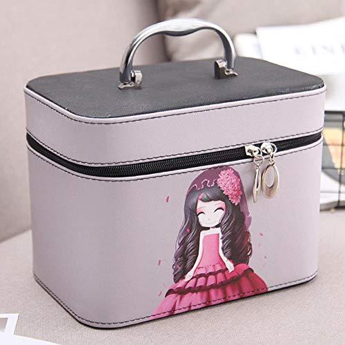 Huien make-up tas draagbare Koreaanse eenvoudige schattig meisje hart grote capaciteit opbergdoos cosmetische zaak draagbare make-up case, grote zwarte meid
