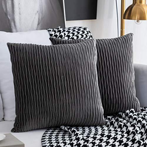 Kissenbezüge Set mit 2 dekorativen quadratischen rechteckigen Kissenbezüge Samt Moderne Kissenbezüge für Couch Bett Sofa Stuhl Schlafzimmer Wohnzimmer(Grau)