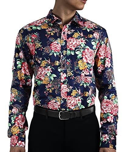 HISDERN Camisa Hombre Azul Camisas Flores Hawaianas Manga Larga Estampado Rosas Camisa Casual Formal para Playa Boda Costa Fiesta Aloha