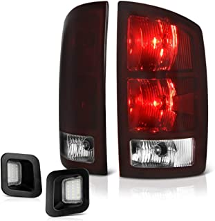VIPMOTOZ Smoke Red Lens OE-Style Tail Light + Full-LED License Plate Lamp Housing Replacement Bundle For 2003-2006 Dodge RAM 1500 2500 3500 Pickup Truck
