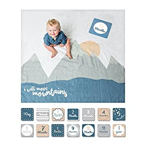 lulujo Baby's First Year Milestone Blanket and Card Set   40in x 40in  Baby Shower Gift   I Will Move Mountains