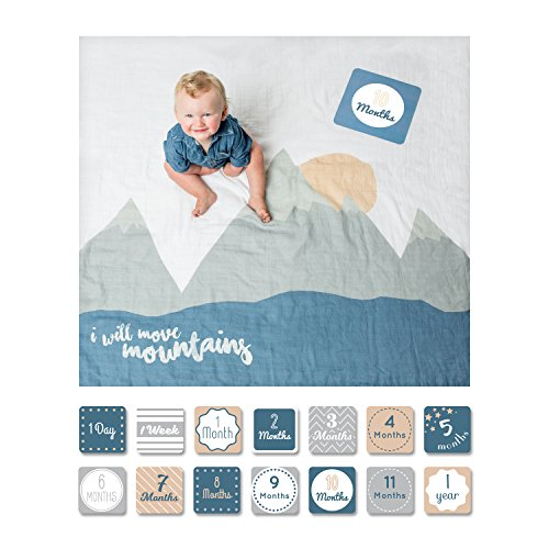 lulujo Baby's First Year Milestone Blanket and Card Set | 40in x 40in| Baby Shower Gift | I Will Move Mountains