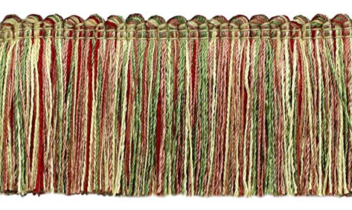 4.6 Meter Value Pack of Veranda Collection 51mm Brush Fringe Trim Pastel Green, Yellow Maize, Dusty Rose, Brick Red  Style#: 0200VB  Color: Daylily Bouquet - VNT8 (15 Ft / 5 Yards)