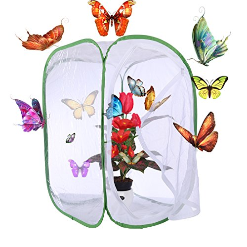 Seciie Schmetterlinge Züchten Schmetterlingsgarten für Fang, Insekt Und Schmetterling Habitat Käfig Pop-up Schutz Käfig - 40×40×60cm