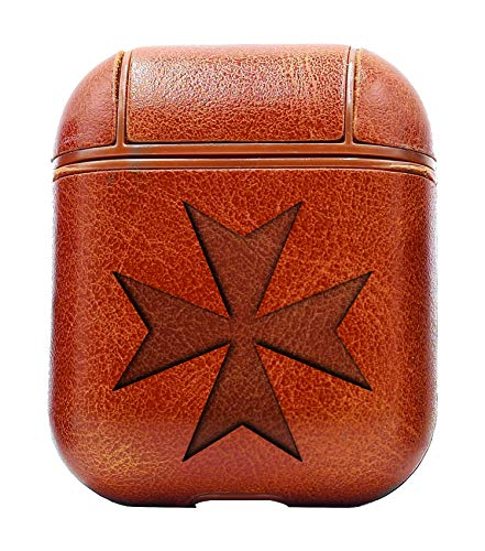 Maltese Cross Silhouette (Vintage Brown) Air Pods Protective Leather Case Cover - a New Class of Luxury to Your AirPods - Premium PU Leather and Handmade exquisitely by Master Craftsmen