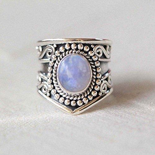 Anello in argento con pietra di luna arcobaleno, pietra di luna arcobaleno, anello in pietra di luna, argento sterling 925, anello in argento, gioielli fatti a mano, dimensioni dal 6 al 31